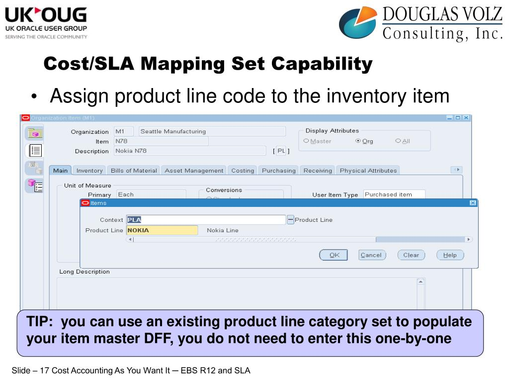 TIP:  you can use an existing product line category set to populate your item master DFF, you do not need to enter this one-by-one