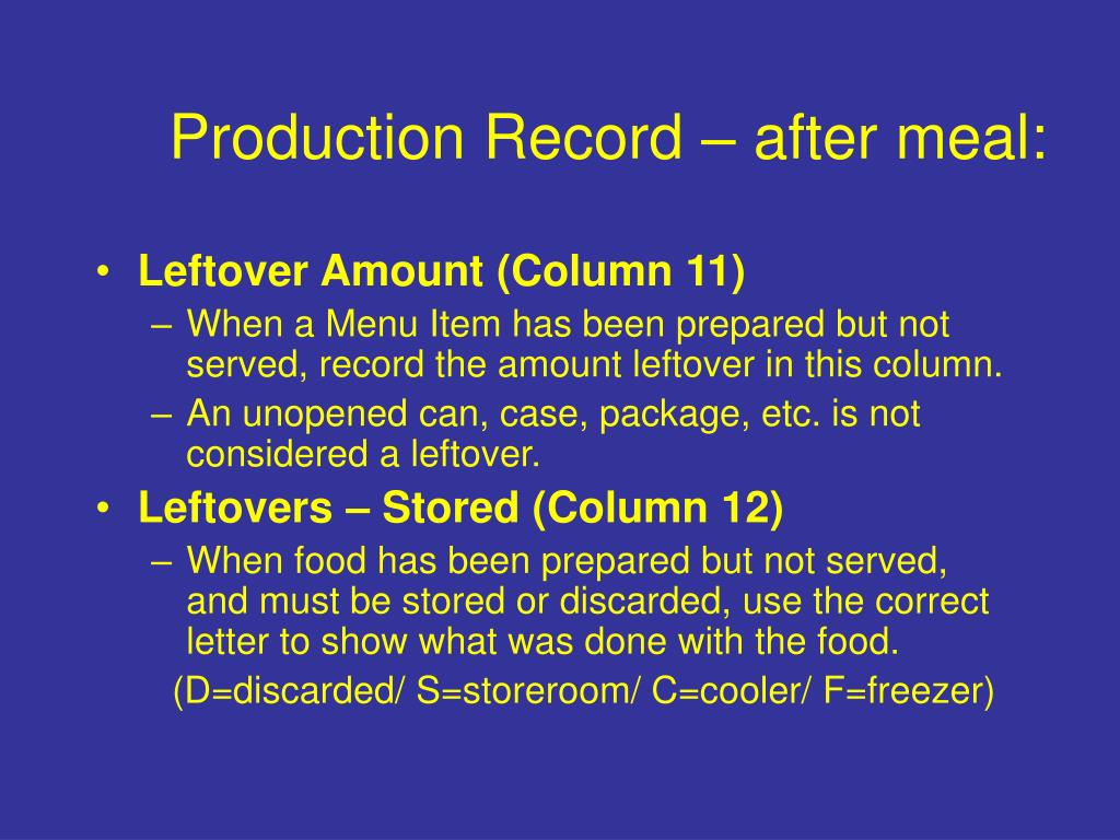 Production Record – after meal: