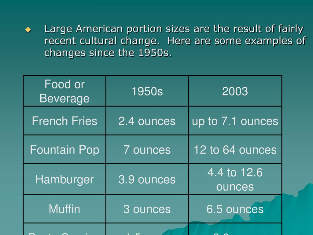 Large American portion sizes are the result of fairly recent cultural change.  Here are some examples of changes since the 1950s.