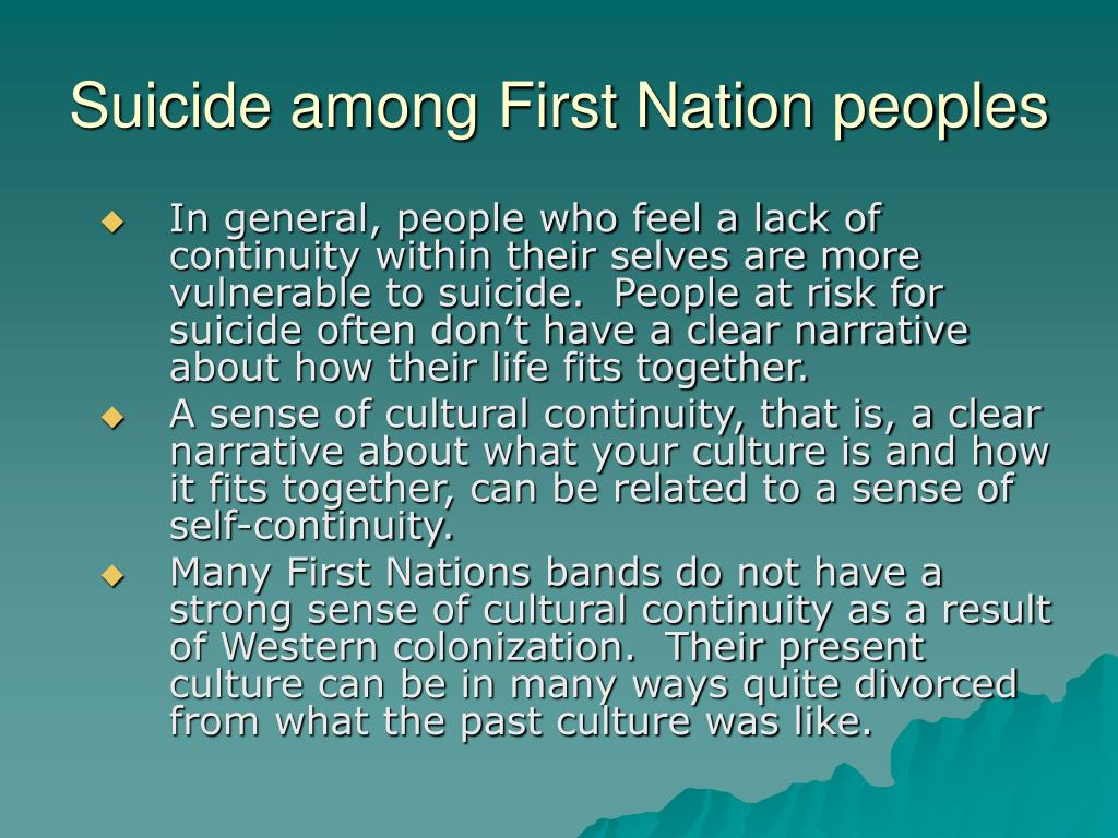 Suicide among First Nation peoples