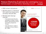 reduce marketing expenses by leveraging avaya marketleaders 2 0 and partner marketing central