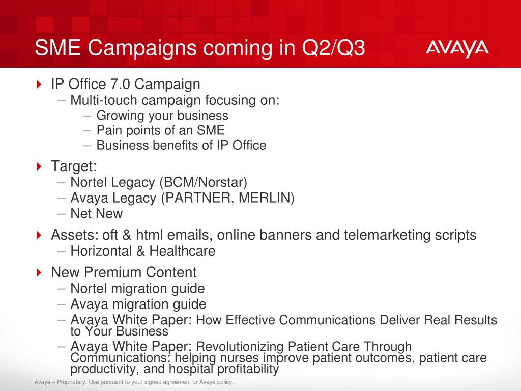 SME Campaigns coming in Q2/Q3