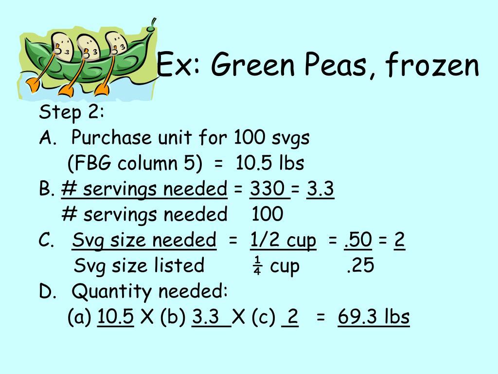 Ex: Green Peas, frozen