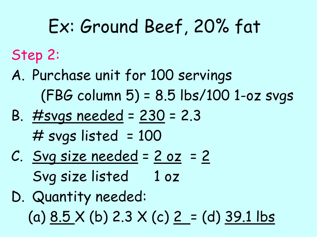 Ex: Ground Beef, 20% fat