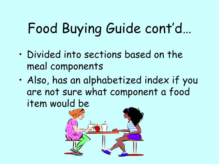 Food buying guide cont d