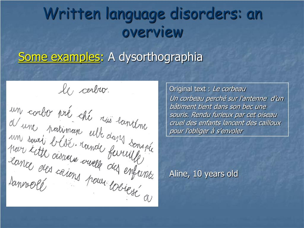 Written language disorders: an overview
