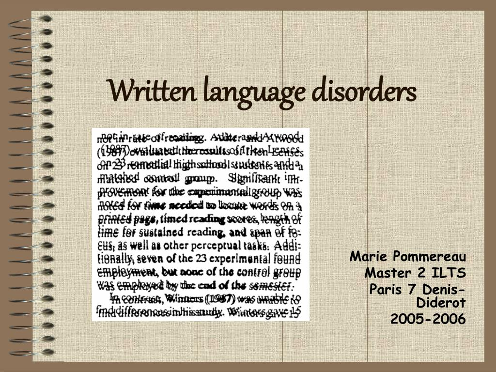 Written language disorders