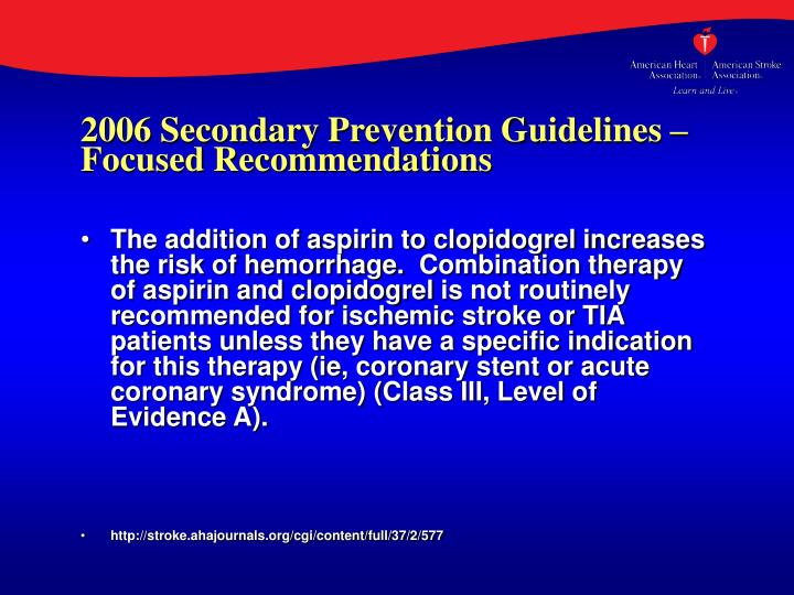 2006 Secondary Prevention Guidelines – Focused Recommendations