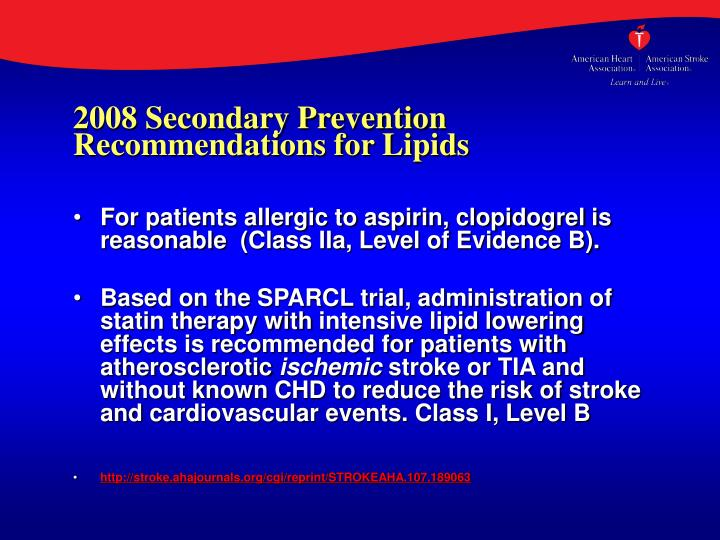 2008 Secondary Prevention Recommendations for Lipids