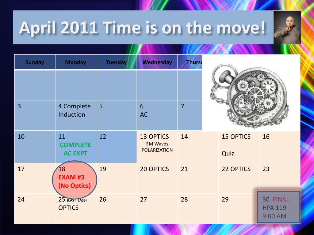 April 2011 Time is on the move!