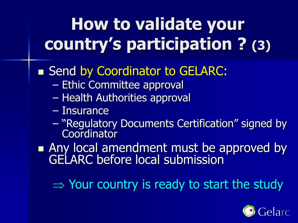 How to validate your country's participation ?