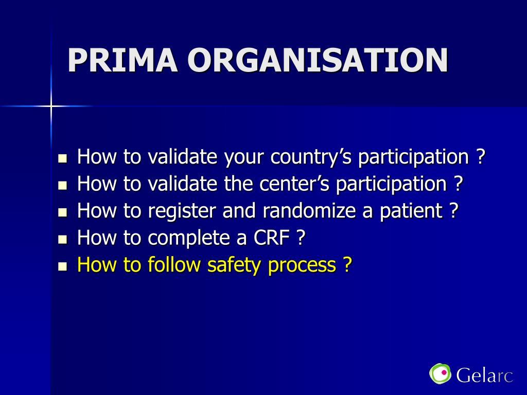 PRIMA ORGANISATION