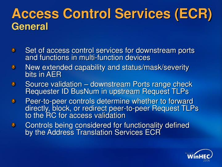 Access Control Services (ECR)