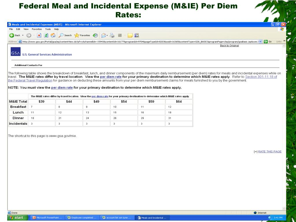 Federal Meal and Incidental Expense (M&IE) Per Diem Rates: