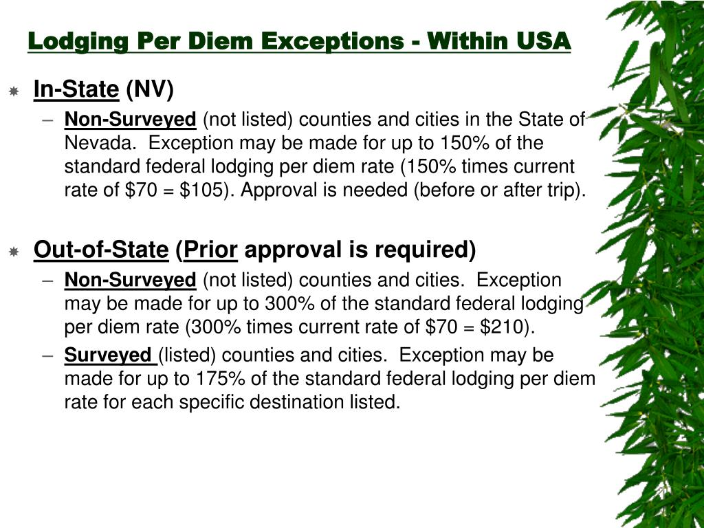 Lodging Per Diem Exceptions - Within USA
