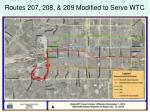 routes 207 208 209 modified to serve wtc