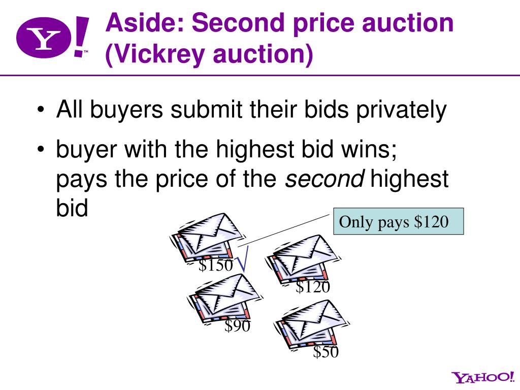 Aside: Second price auction