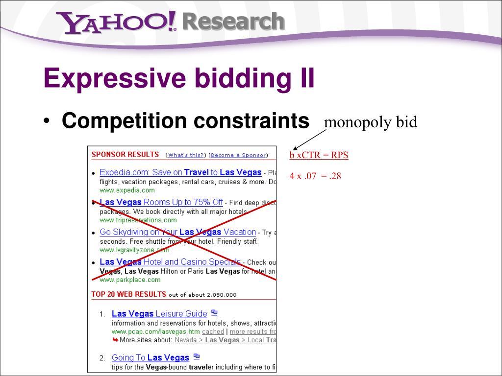 Expressive bidding II