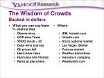 the wisdom of crowds backed in dollars