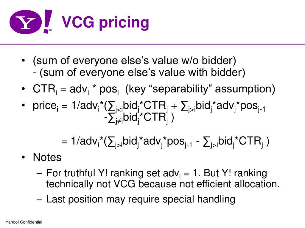 VCG pricing