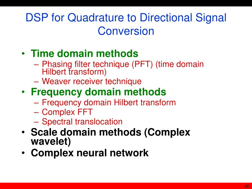 DSP for Quadrature to Directional Signal Conversion