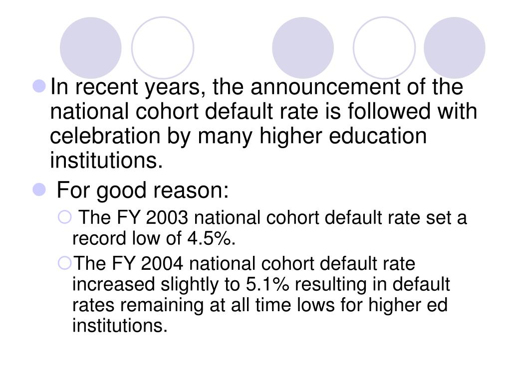 In recent years, the announcement of the national cohort default rate is followed with celebration by many higher education institutions.