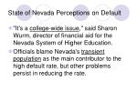 state of nevada perceptions on default