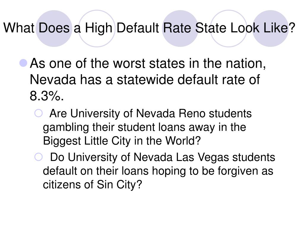 What Does a High Default Rate State Look Like?