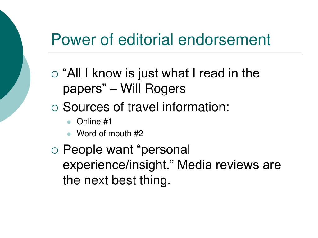 Power of editorial endorsement
