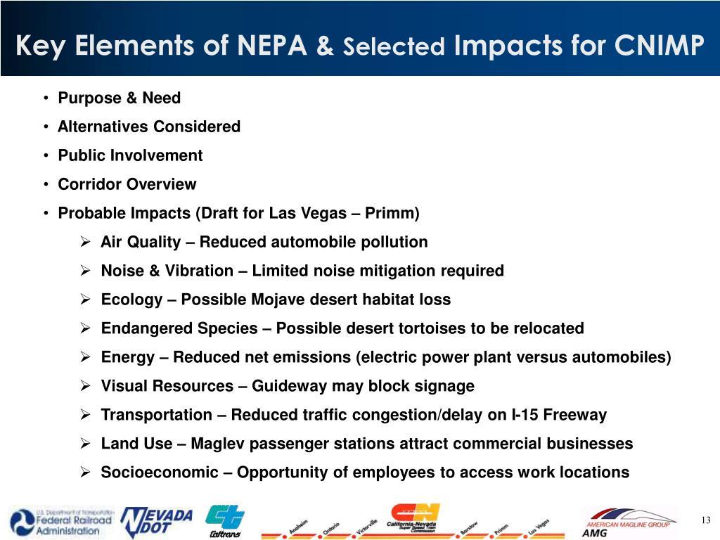 Key Elements of NEPA &
