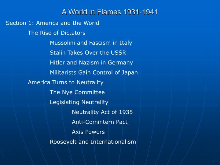 A world in flames 1931 1941