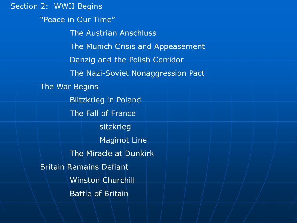 Section 2:  WWII Begins
