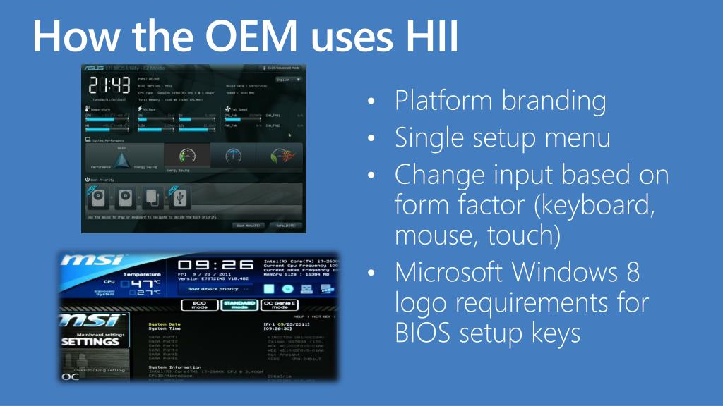 How the OEM uses HII