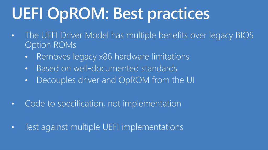 UEFI OpROM: Best practices