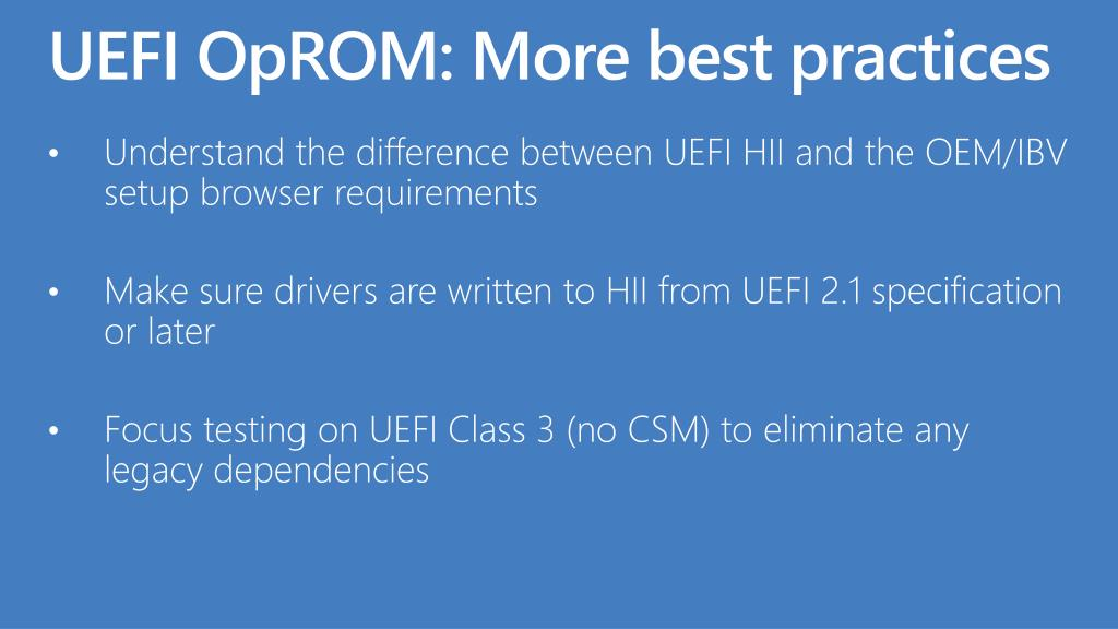 UEFI OpROM: More best practices