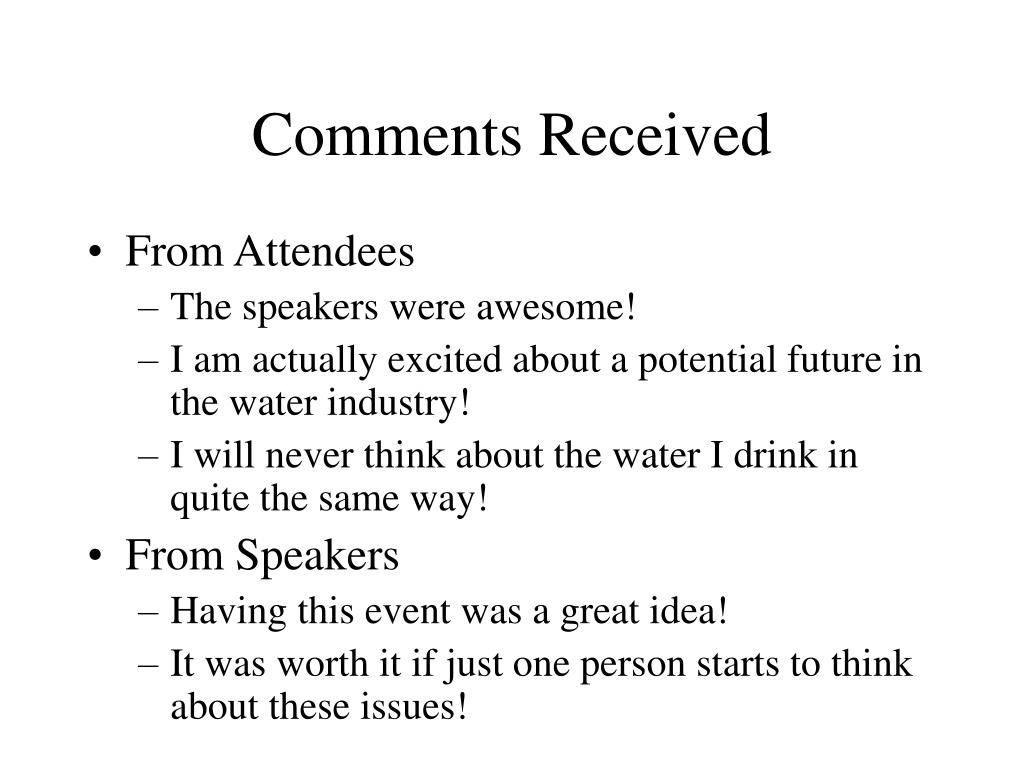 Comments Received