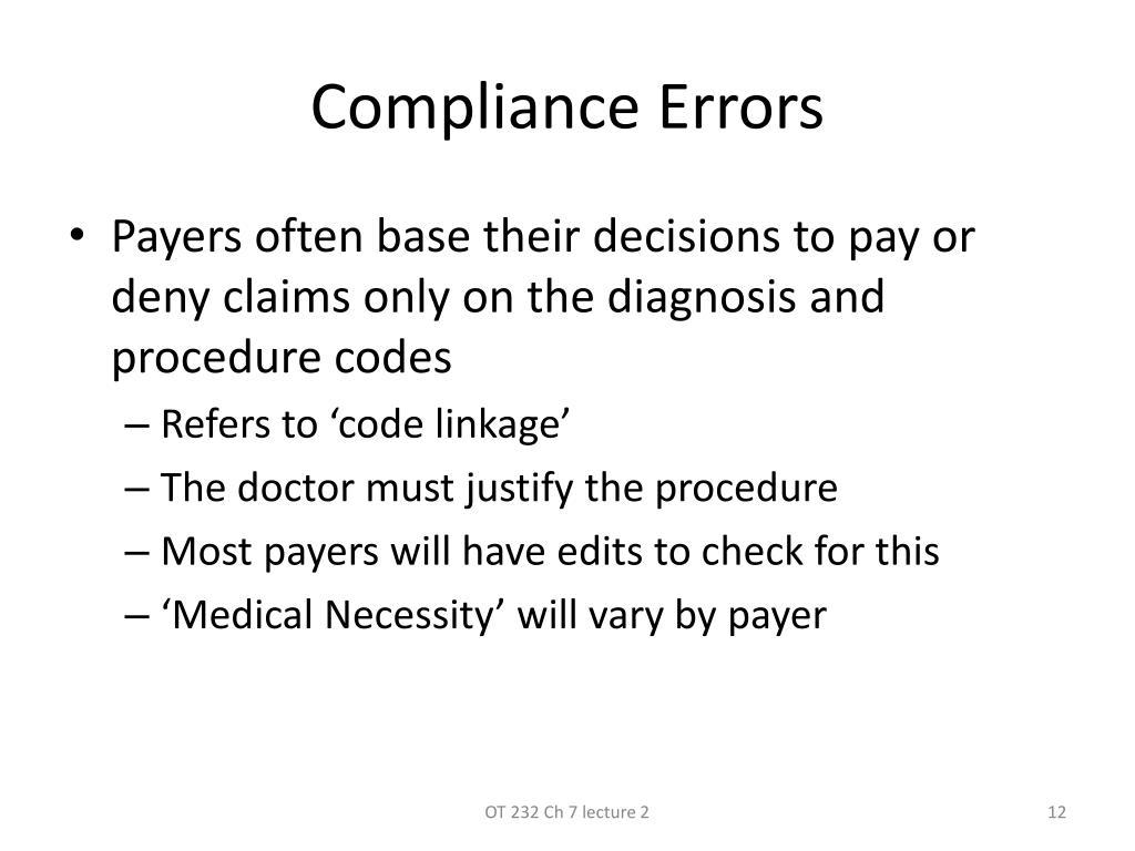 errors in coding and compliance With thousands of new and revised icd-10 codes implemented with the new coding update on october 1, 2016, reviews and audits are essential to identifying patterns, trends, and best practices that affect documentation, coding, training, education, compliance, query practices, data analysis, and more.
