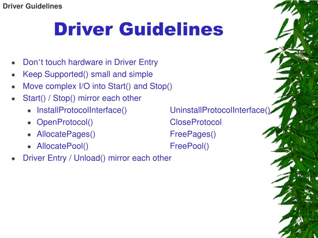 Driver Guidelines