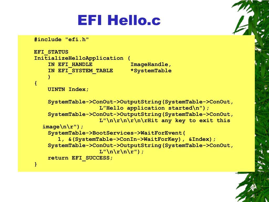 EFI Hello.c