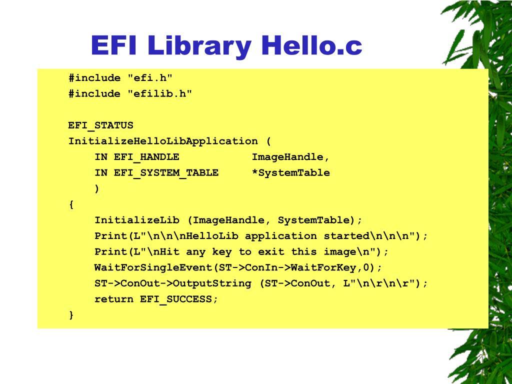 EFI Library Hello.c
