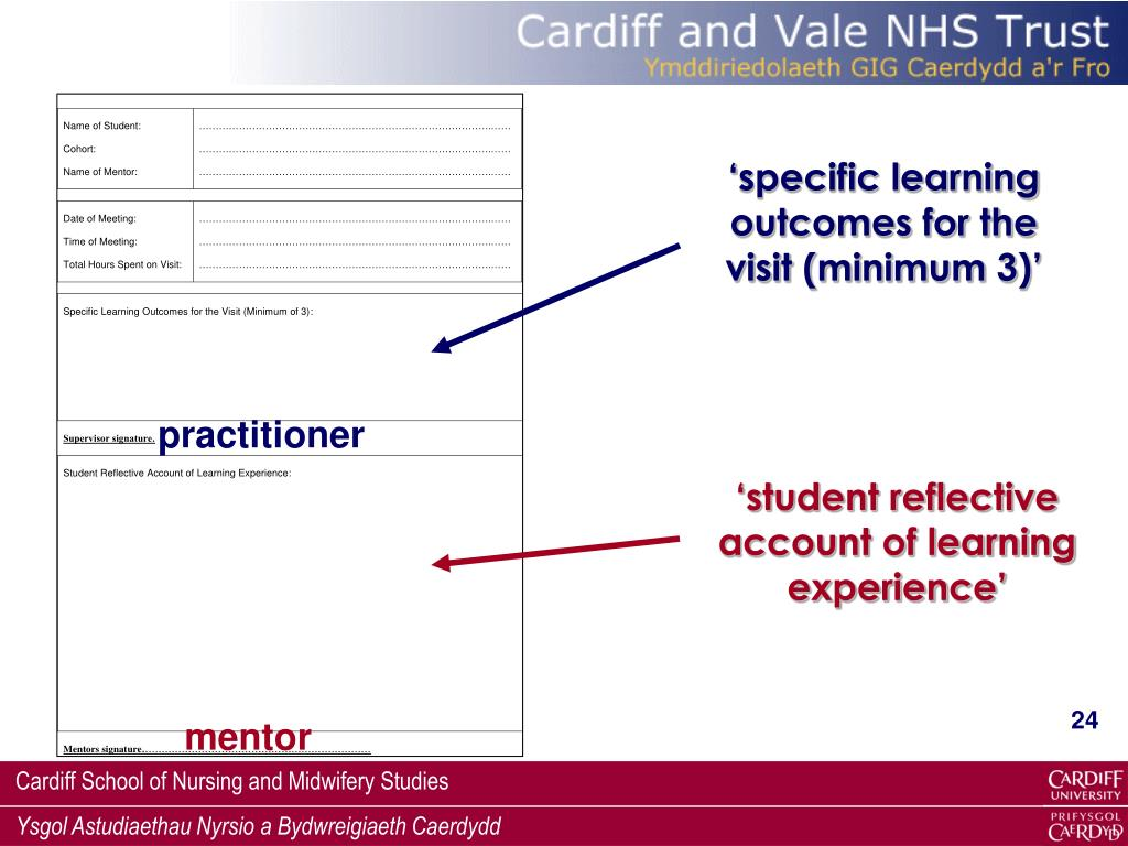 'specific learning outcomes for the visit (minimum 3)'
