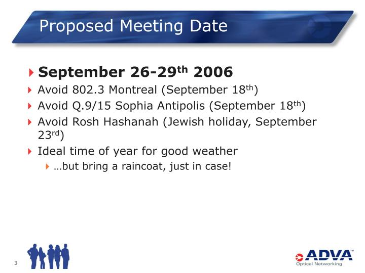 Proposed meeting date