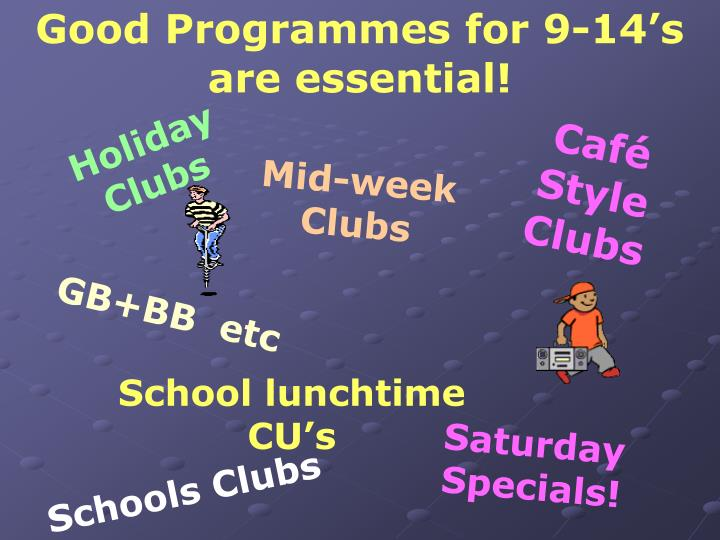 Good Programmes for 9-14's are essential!