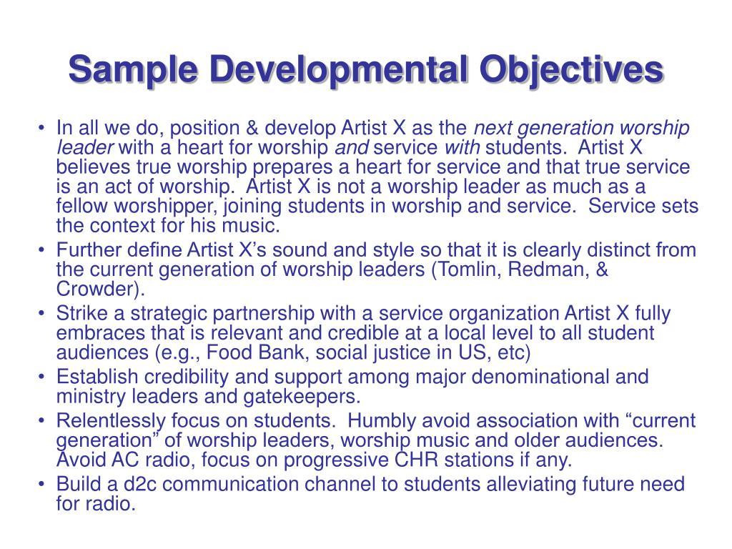 Sample Developmental Objectives