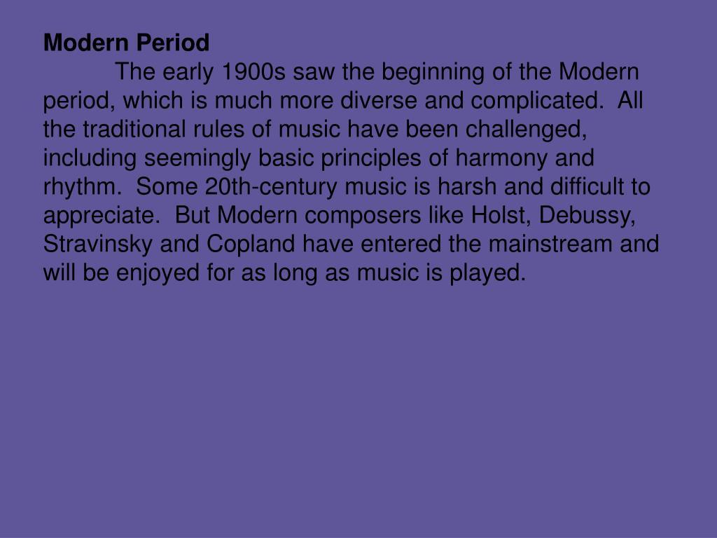 Modern Period