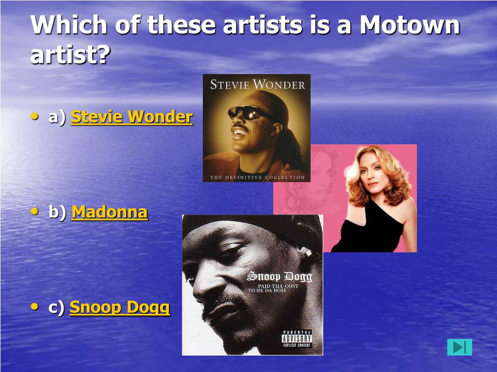 Which of these artists is a Motown artist?