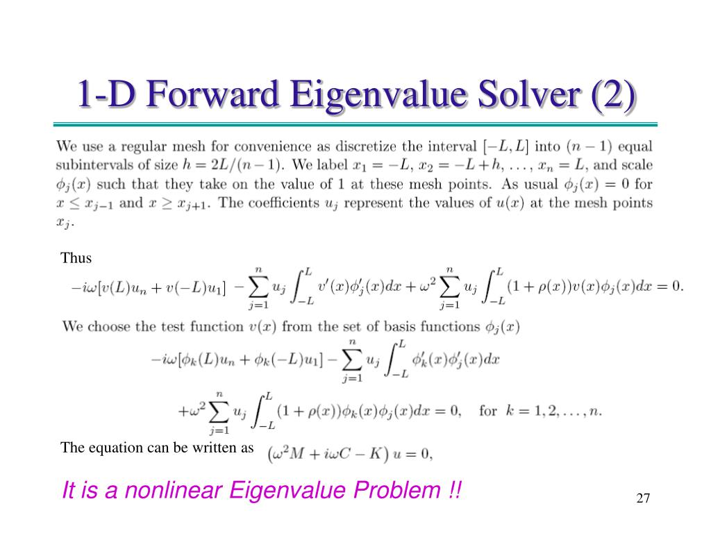 1-D Forward Eigenvalue Solver (2)