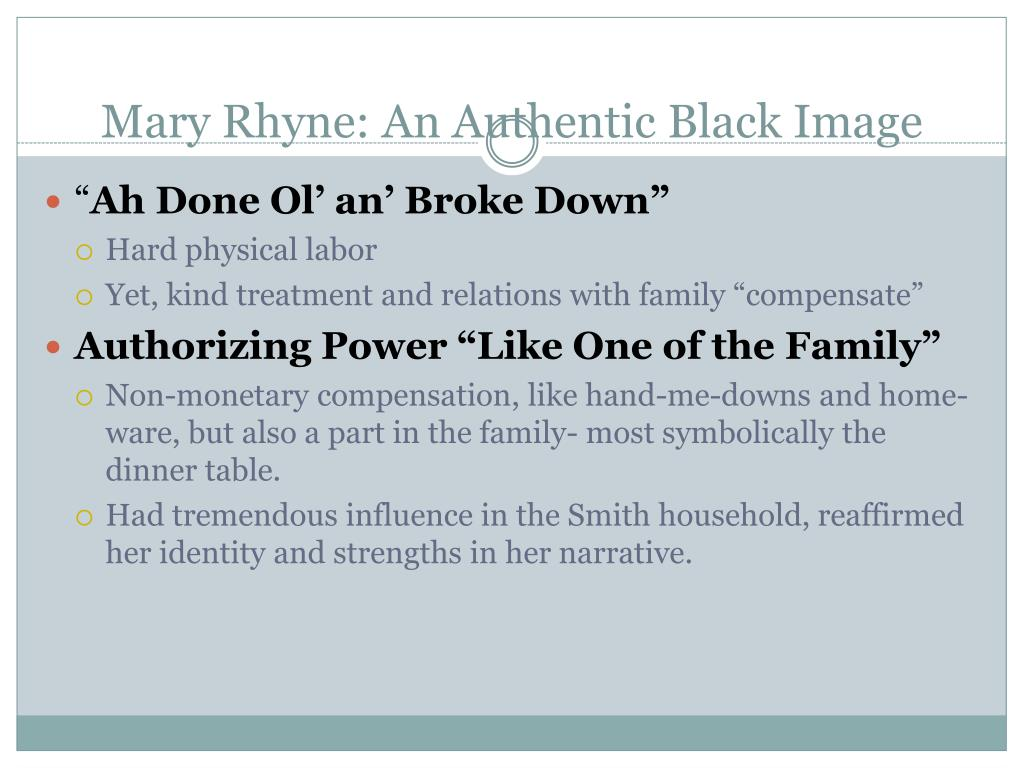 Mary Rhyne: An Authentic Black Image