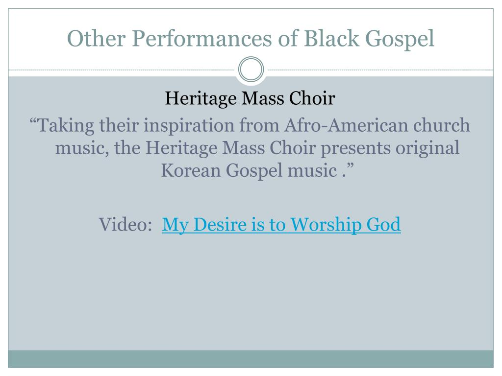 Other Performances of Black Gospel