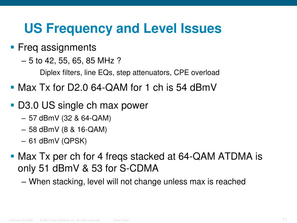 US Frequency and Level Issues
